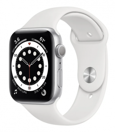Apple Watch Series 6 40mm, серебристый алюминий, спортивный ремешок белого цвета